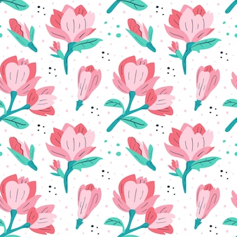 Petit magnolia rose. dessin animé plat coloré motif sans soudure étiré à la main