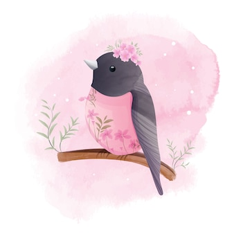 Le petit merle est perché sur une branche avec de belles fleurs, aquarelle.