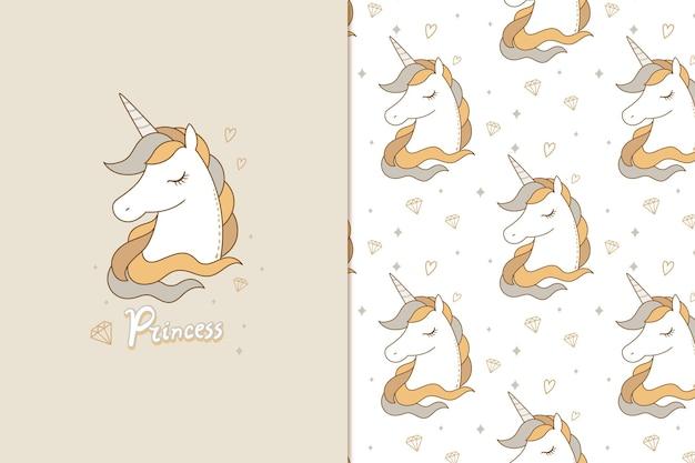 Petit motif de licorne princesse