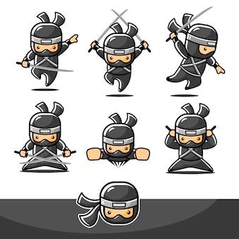 Petit ninja noir de dessin animé serti de mouvement de mouche