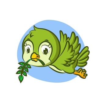 Petit oiseau tenant des feuilles avec bec jaune