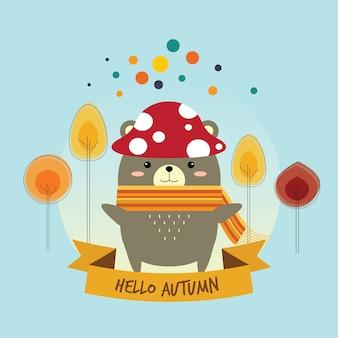 Petit ours avec chapeau aux champignons