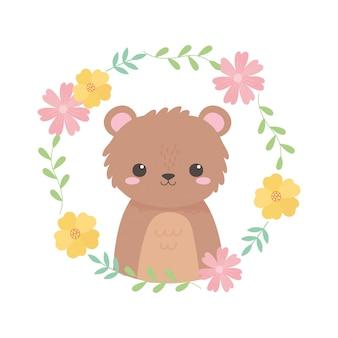 Petit ours mignon fleurs feuillage dessin animé illustration vectorielle animal
