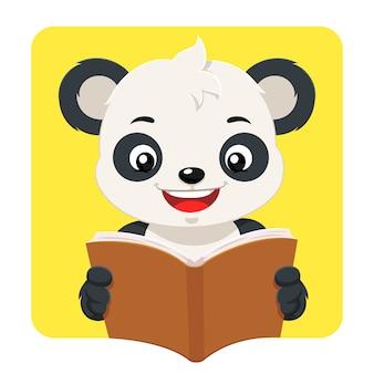 Petit ours panda, lecture d'un livre brun