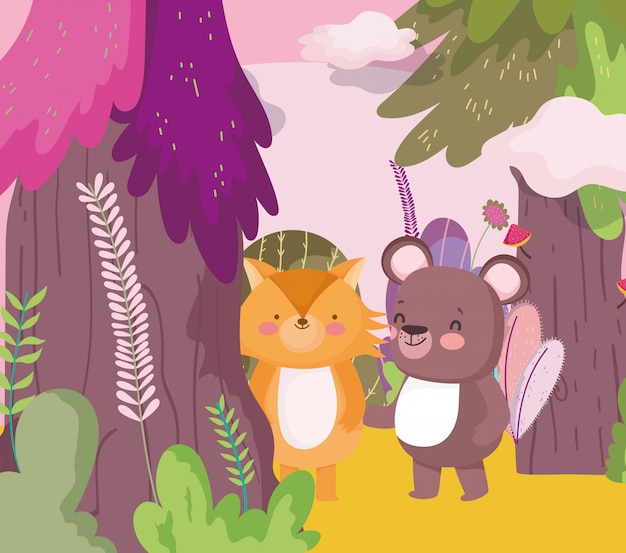 Petit ours en peluche et renard personnage de dessin animé feuillage forestier nature