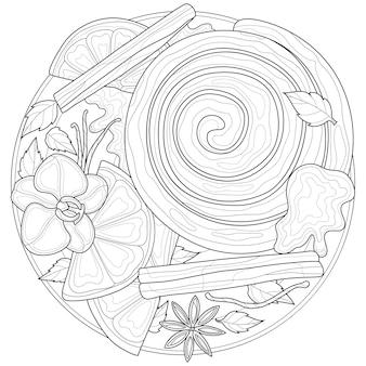 Petit pain à la cannelle sur une assiette avec de la cannelle et de la vanille.livre de coloriage antistress pour enfants et adultes. illustration isolée sur fond blanc. style zen-tangle.