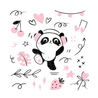 Petit panda illustration écoutant de la musique dans des casques et dansant.