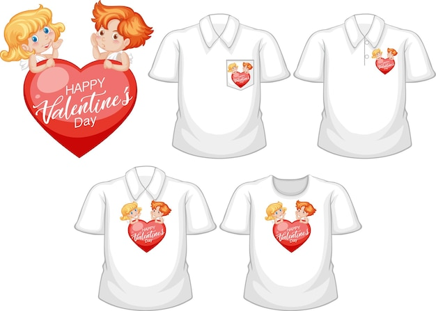 Petit personnage de dessin animé de cupidons avec ensemble de chemises différentes isolé sur fond blanc