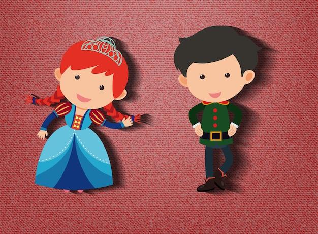 Petit personnage de dessin animé de princesse et de garde sur fond rouge