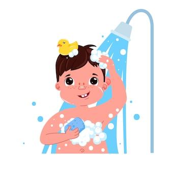 Petit personnage enfant garçon prend une douche