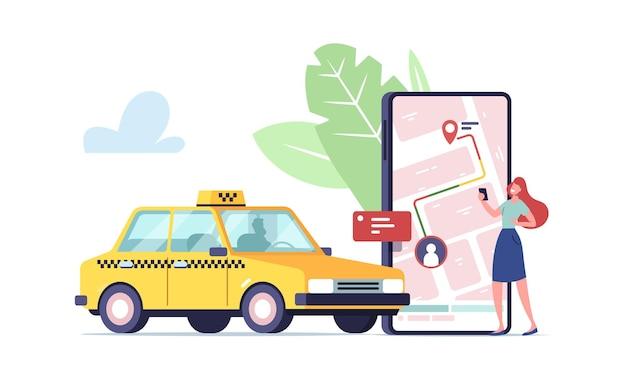 Petit personnage féminin commande taxi app smartphone en ligne.