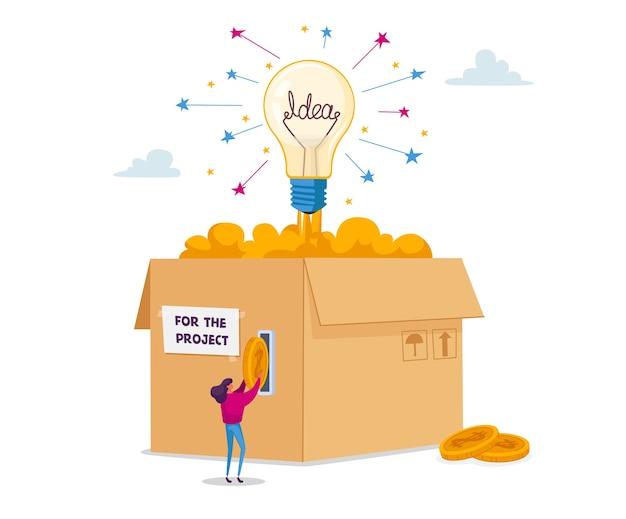 Petit personnage féminin insère des pièces d'or dans une énorme boîte en carton avec une ampoule rougeoyante