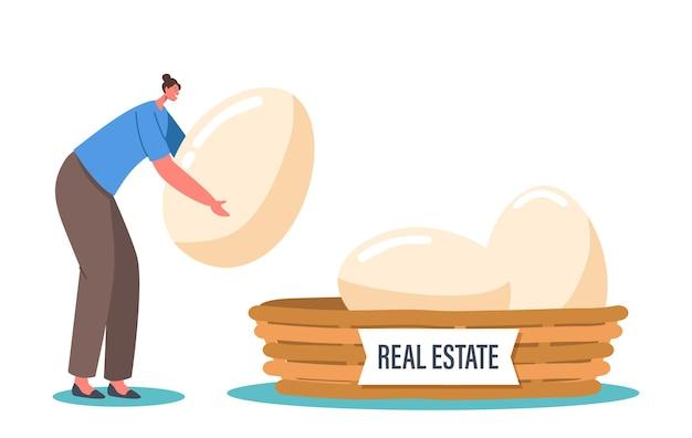 Un petit personnage féminin met un œuf de poule dans un panier avec une inscription immobilière. stratégie de diversification des entreprises et de gestion des risques pour le concept d'investissement ou d'épargne. illustration vectorielle de gens de dessin animé