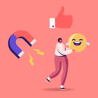 Un petit personnage féminin porte un énorme sourire riant emoji dans les mains avec des icônes de pouce vers le haut et d'aimant