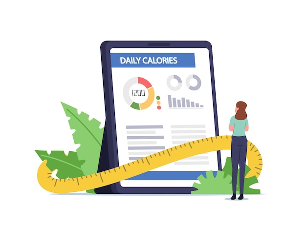 Un petit personnage féminin se tient sur une énorme tablette avec une application pour compter les calories quotidiennes. calculatrice d'alimentation saine et de perte de poids, application mobile pour le concept de régime. illustration vectorielle de gens de dessin animé