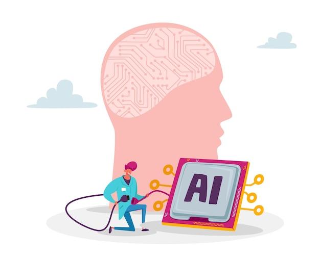 Un petit personnage ingénieur scientifique connecte une énorme tête humaine à un micro-circuit pour créer une intelligence artificielle dans un laboratoire scientifique