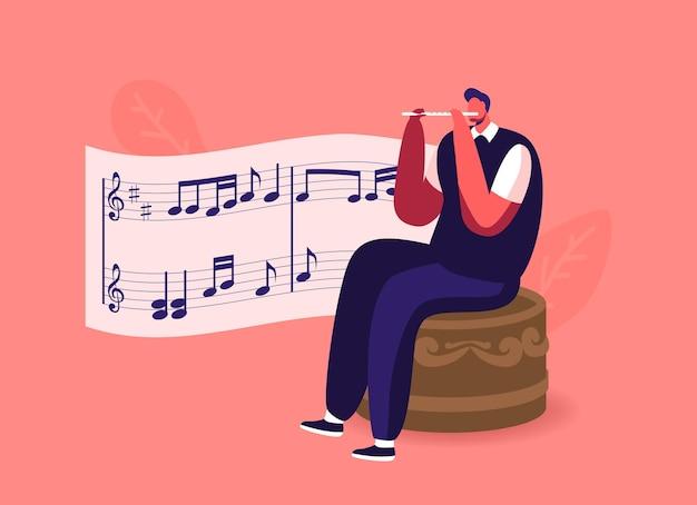 Petit personnage masculin assis sur une énorme boîte à musique jouant de la flûte avec des notes sur la portée.