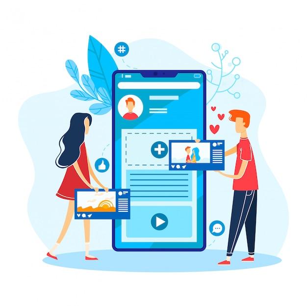 Petit personnage masculin cherche l'amour réseau social en ligne, communication femme avec petit ami isolé sur blanc, illustration de dessin animé.