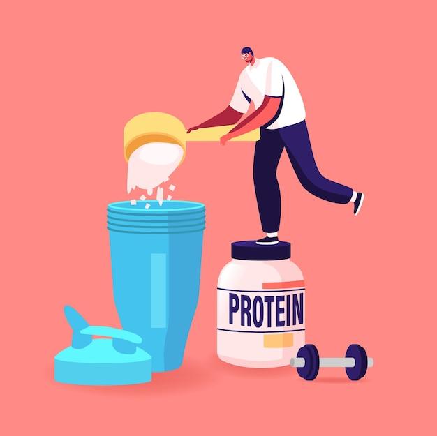 Petit personnage masculin verser de la poudre de protéine pour faire des cocktails dans un shaker dans une salle de sport