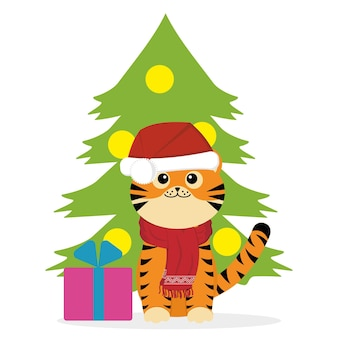 Un petit personnage de petit tigre est assis sur le fond d'un arbre de noël, illustration vectorielle de couleur en style cartoon.