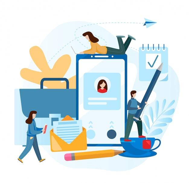 Petit peuple. concept de travail et accessoires de l'employé de l'entreprise.