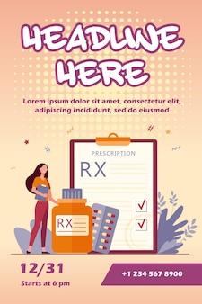 Petit Pharmacien Debout Près Du Modèle De Flyer De Prescription Rx Vecteur gratuit