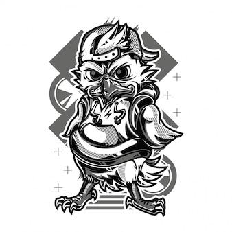 Petit poulet noir et blanc illustration