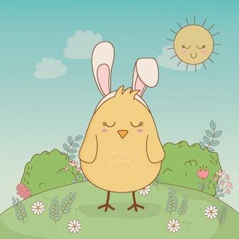 Petit poussin avec oreilles lapin caractère de pâques