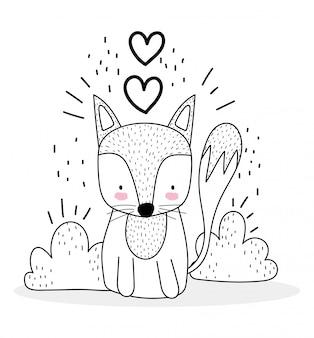 Petit renard assis avec coeurs d'amour animaux mignons croquis dessin animé de la faune adorable