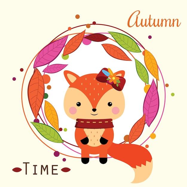 Petit renard assis dans une couronne d'automne