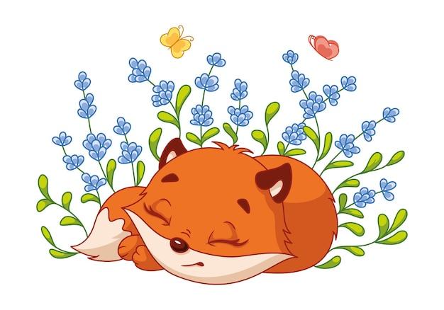 Petit renard dormant dans des buissons de lavande. illustration de dessin animé de vecteur