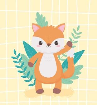 Petit renard mignon feuillage nature dessin animé animaux conception illustration vectorielle