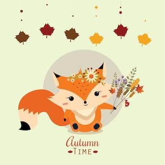 Un petit renard tenant un bouquet