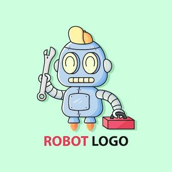 Le petit robot mécanique mignon apporte une clé et une boîte à outils rouge. logo mascotte.