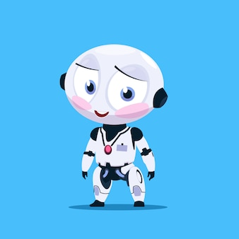 Petit robot timide avec des joues flashées isolées sur l'icône de fond bleu