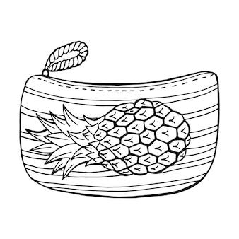 Petit sac à main d'été avec ananas. style de contour d'illustration vectorielle