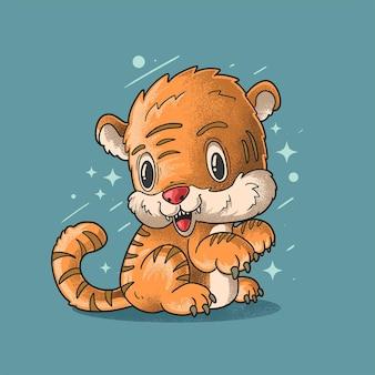 Petit tigre cherful grunge style illustration vecteur