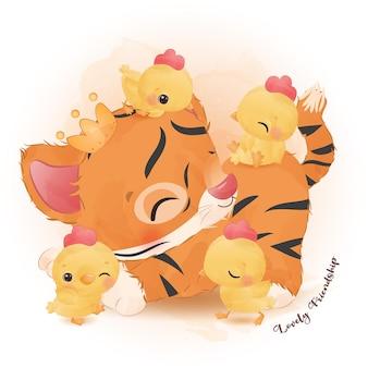 Le petit tigre mignon et les petits poulets jouent dans l'illustration d'aquarelle
