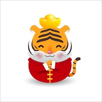 Petit tigre tenant des lingots d'or chinois et joyeux nouvel an chinois 2022 année du tigre