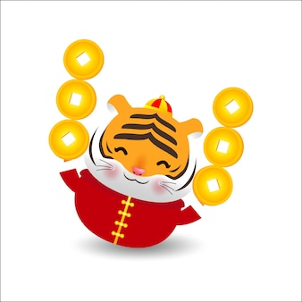 Petit tigre tenant des lingots d'or chinois et nouvel an chinois 2022