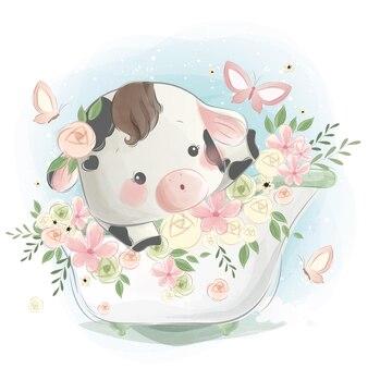 Petit veau dans une baignoire de printemps