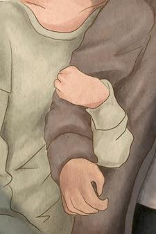 Petite amie étreignant le bras de son petit ami illustration dessinée à la main sur le thème de la saint-valentin