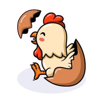Petite bande dessinée mignonne de coq à l'intérieur d'un oeuf