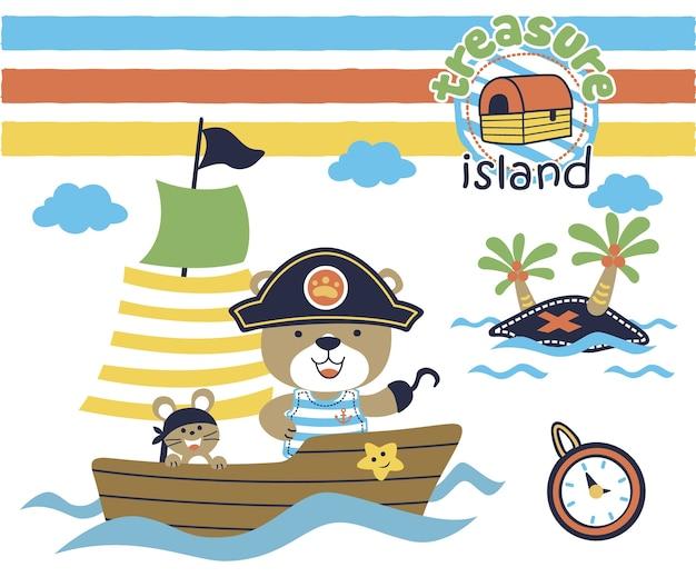 Petite bande dessinée de voilier avec des pirates drôles