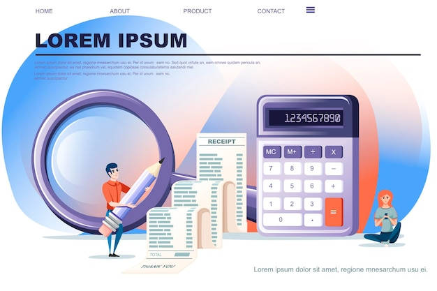 Petite calculatrice violette moderne avec fonction de base avec illustration vectorielle plate de long reçu sur fond blanc conception de page de site web bannière horizontale.