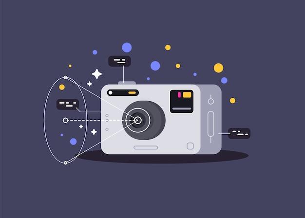 Petite caméra d'action. illustration vectorielle.