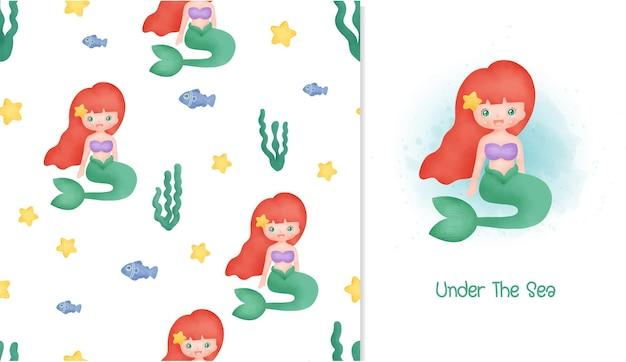 Petite carte de sirène et modèle sans couture