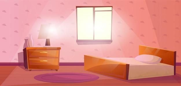 Petite chambre avec un grand lit, fenêtre et table de chevet.