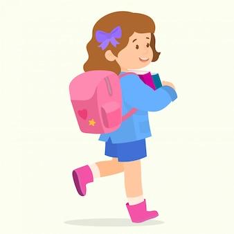 Petite écolière mignonne avec cartable