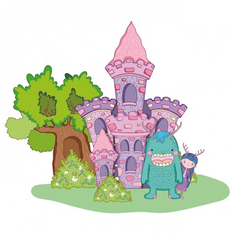 Petite fée avec monstre dans le château